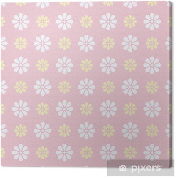 Tableau sur toile Belle vecteur, seamless (carrelage). Rose bonbon, blanc -