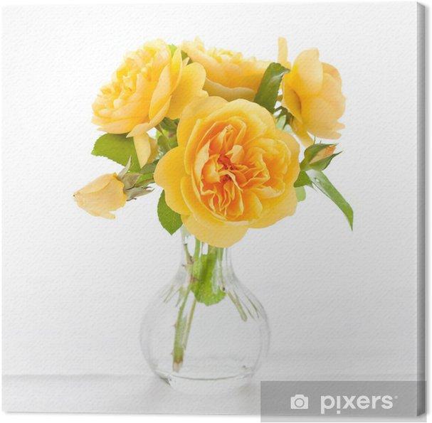 Tableau sur toile Belles roses jaunes - Maisons et jardins