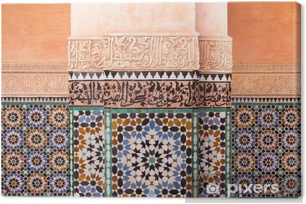 Tableau sur toile Ben Youssef Madrasa Wall - Maroc - Bâtiments et architecture