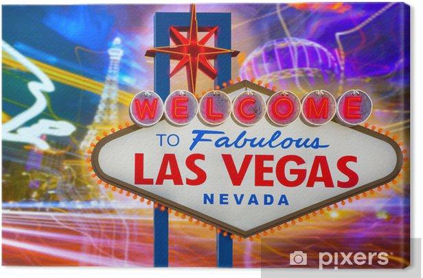 Tableau sur toile Bienvenue à Las Vegas fabuleux signe coucher du soleil avec la bande de - Las Vegas
