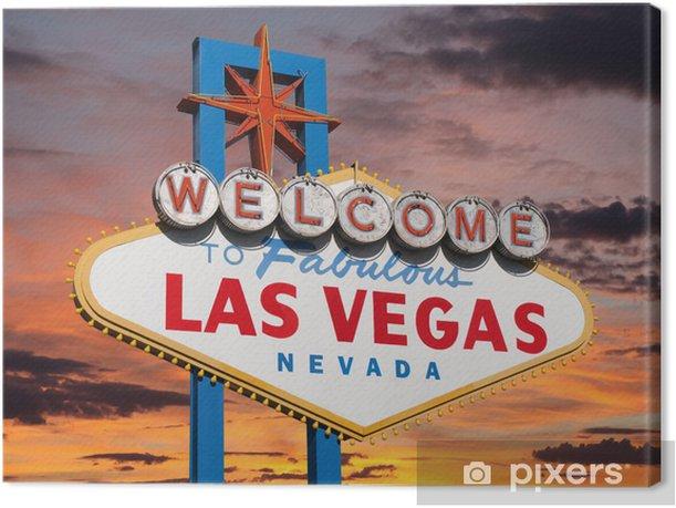 Tableau sur toile Bienvenue à Las Vegas signe avec Sunset Sky - Las Vegas