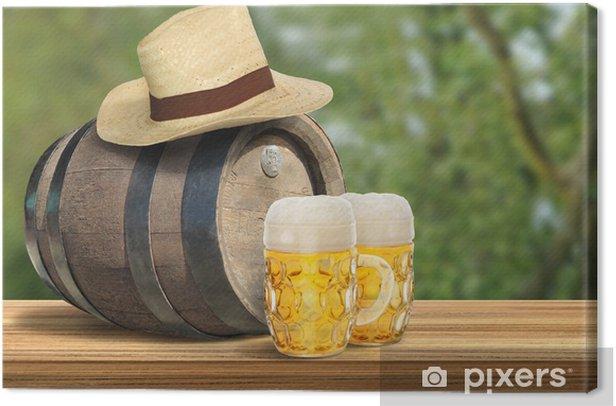 Tableau sur toile Bière en fût neuf - Alcool