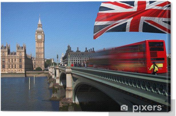 Tableau sur toile Big Ben avec bus de la ville et le drapeau de l'Angleterre, Londres - Thèmes