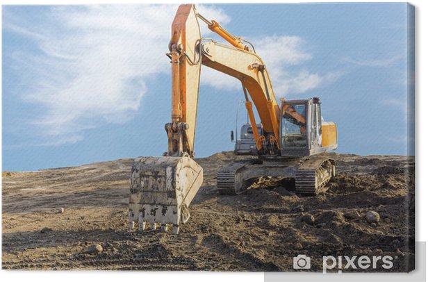 Tableau sur toile Big pelle sur le chantier - Machines
