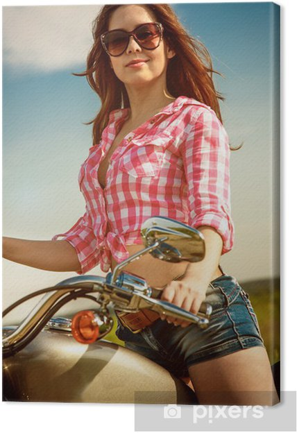 Tableau sur toile Biker fille assise sur la moto - Femmes