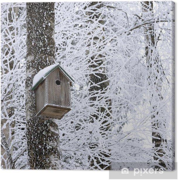 Tableau sur toile Birdhouse à l'hiver - Saisons