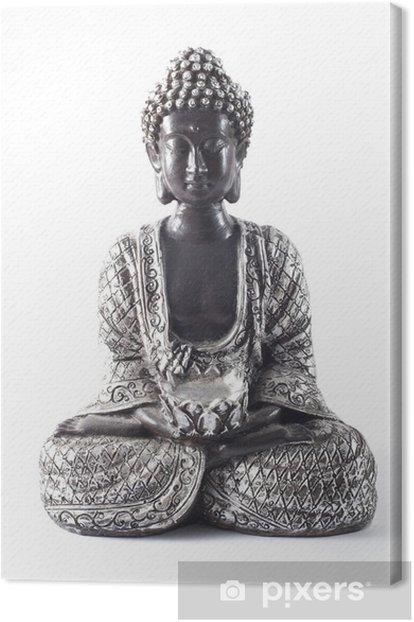 Tableau sur toile Black Buddha statue isolé sur blanc - Sticker mural