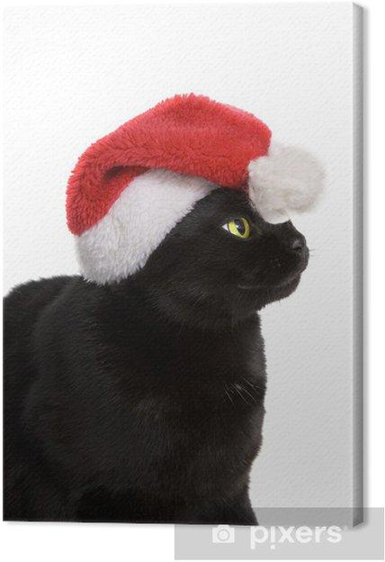 Tableau sur toile Black Cat Santa - chat mignon de Noël sur fond blanc - Fêtes internationales