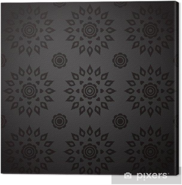 Tableau sur toile Black Seamless Thai art Motif. - Arrière plans