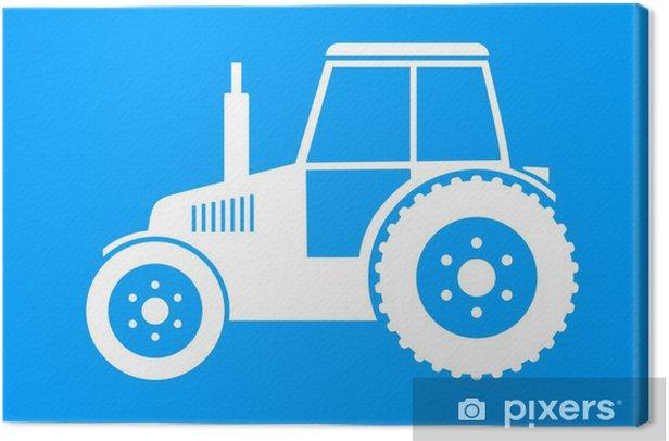 Tableau sur toile Blanc tracteur icône sur fond bleu - Agriculture