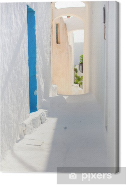 Tableau sur toile Blanc traditionnel rue vide au petit village de la Grèce - Eau