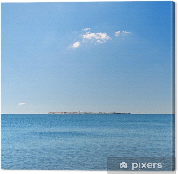 Tableau sur toile Bleu ciel et mer, île à l'horizon - Ciel