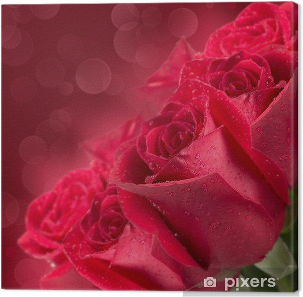 Tableau sur toile Blooming roses rouges - Fleurs
