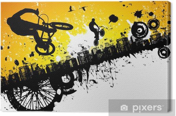 Tableau sur toile BMX dans un fond de ville - Cyclisme
