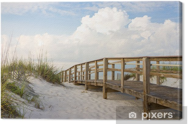 Tableau sur toile Boardwalk sur la plage des dunes de sable - Été
