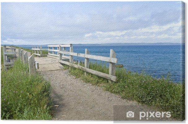 Tableau sur toile Boardwalk sur une plage de gravier - Ciel