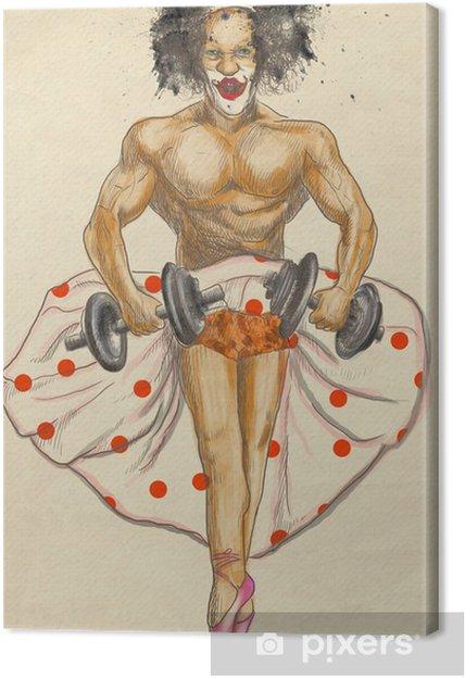 Tableau sur toile Bodybuilder laid avec des haltères habillé comme une ballerine - Divertissements