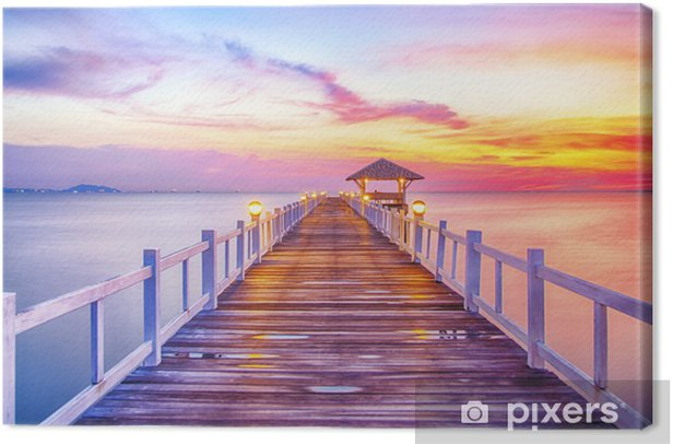 Tableau sur toile Boisé pont dans le port entre le lever -