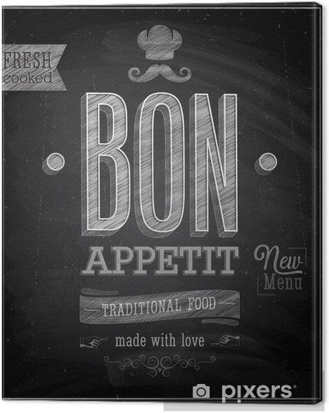 Tableau sur toile Bon Appetit affiche de cru - tableau. Vector illustration. - Vente