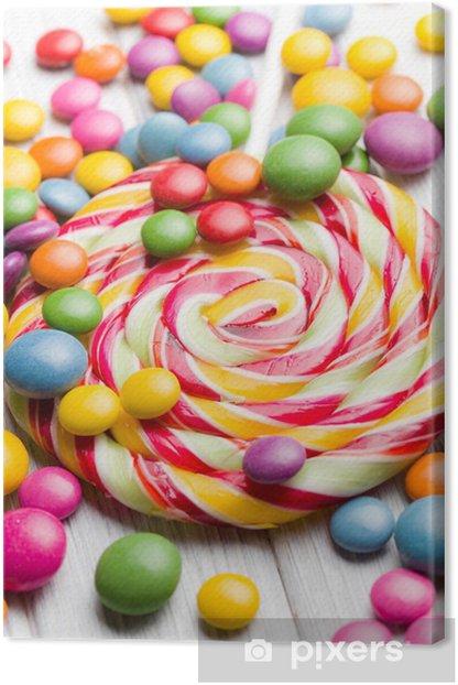 Tableau sur toile Bonbons colorés et sucette - Thèmes