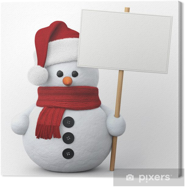 Tableau sur toile Bonhomme de neige avec chapeau de Père Noël et enseigne - Fêtes internationales