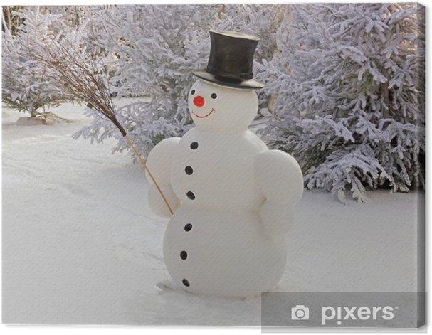 Tableau sur toile Bonhomme de neige et fils balais - Saisons
