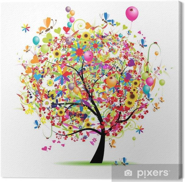 Tableau sur toile Bonnes vacances, arbre drôle avec des ballons -