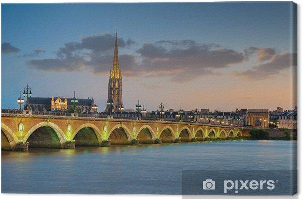 Tableau sur toile Bordeaux - Pont de Pierre et Basilique Saint Michel - Thèmes
