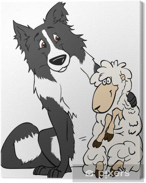 Tableau sur toile Border collie et moutons sont vector illustration amis - Sticker mural