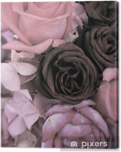Tableau sur toile Bouquet antique de roses et pivoines roses - Bonheur