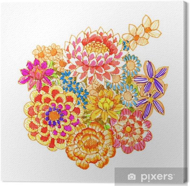 Tableau sur toile Bouquet de fleurs de fantaisie, stylo-feutre - Art et création