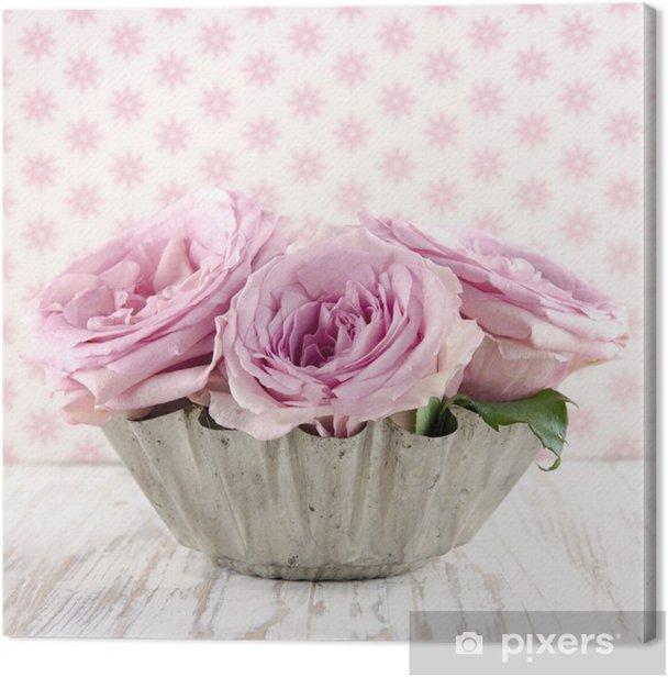 Tableau sur toile Bouquet de roses roses. - Fleurs