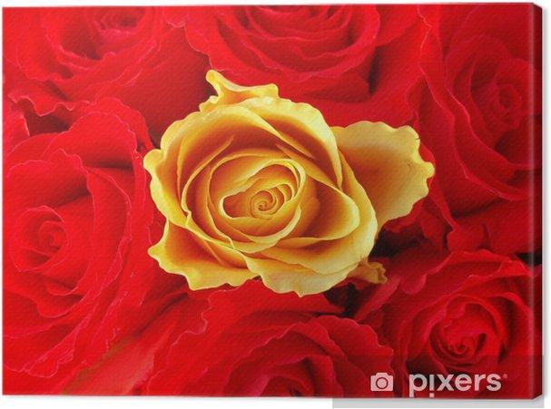 Tableau sur toile Bouquet de roses rouges avec un autre jaune unique - Bonheur