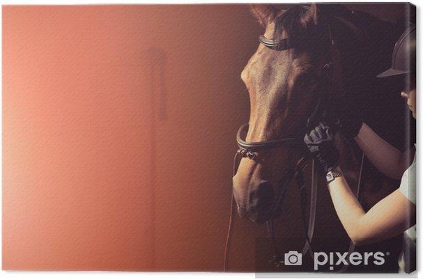 Tableau sur toile Bride de cheval femme - Animaux
