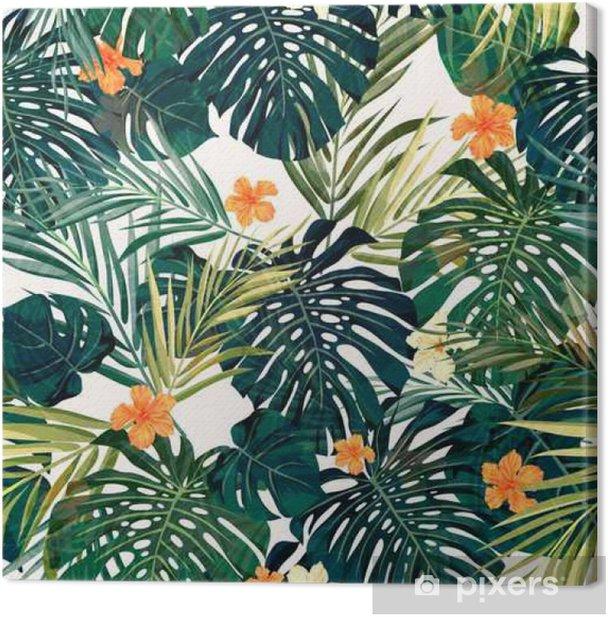 Tableau sur toile Bright fond transparent tropical coloré avec des feuilles et - Plantes et fleurs