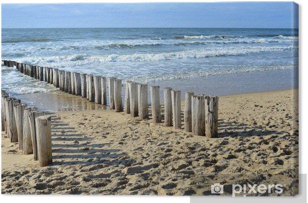 Tableau sur toile Brise-lames sur la plage de la mer du Nord à Domburg Hollande - Thèmes