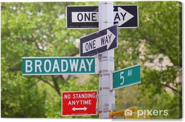 Tableau sur toile Broadway, la 5ème avenue et One Way Street Signs, New York - Signes et symboles