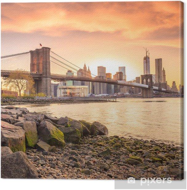 Tableau sur toile Brooklyn Bridge au soleil couchant - Thèmes