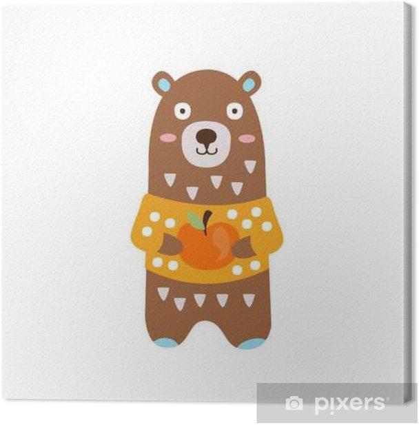 Tableau sur toile Brown Bear In Yellow Sweater Tenir Apple In Character Automne debout humanisé animale Illustration Dans Funky style décoratif - Nourriture