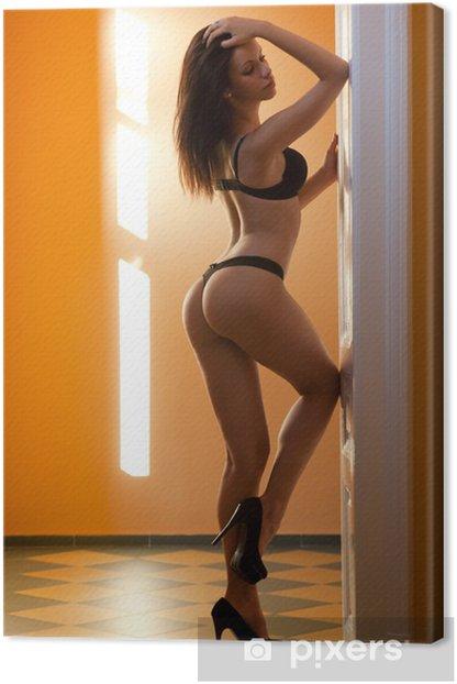 Tableau sur toile Brunette lingerie beauté. - Thèmes