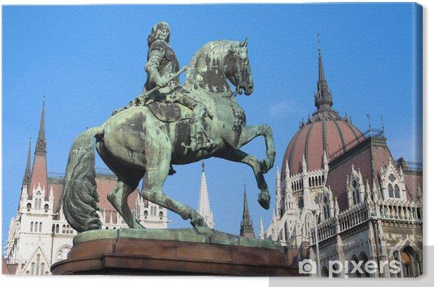 Tableau sur toile Budapest, Statue équestre Et le Parlement hongrois - Europe