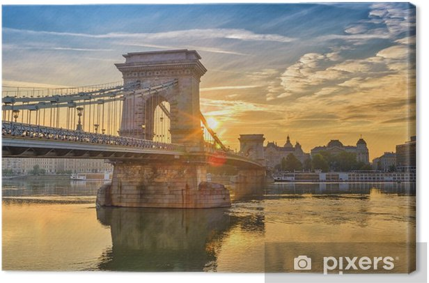 Tableau sur toile Budapest sunrise city skyline à budapest chaîne pont et danube river, budapest, hongrie - Voyages