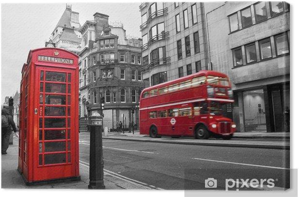 Tableau sur toile Cabine téléphonique et bus rouges à Londres (Royaume-Uni) - Styles