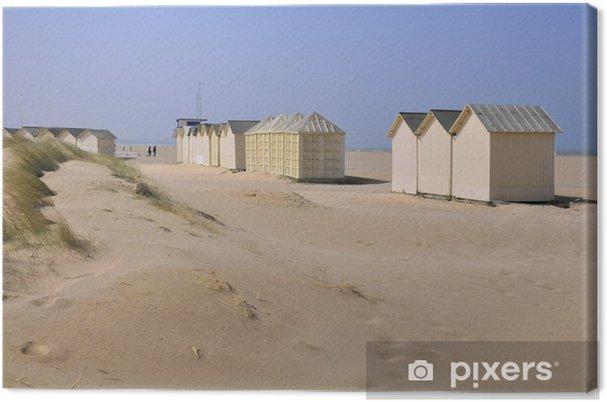 Tableau sur toile Cabines de plage à Ouistreham en Normandie en france - Vacances