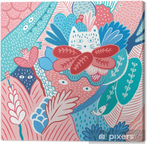 Tableau sur toile Cacher le chat dans la jungle, illustration vectorielle - Animaux