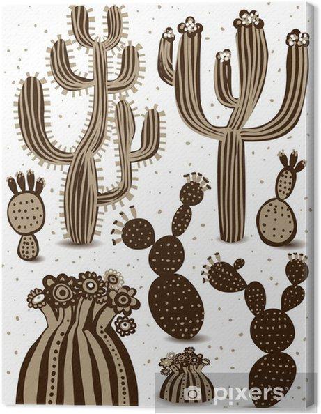 Tableau sur toile Cactus ensemble - Fleurs