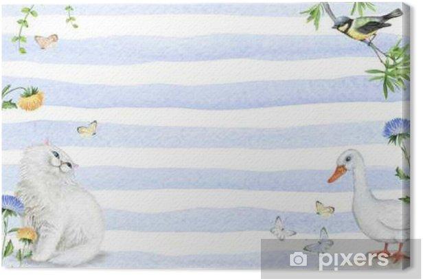 Tableau sur toile Cadre d'aquarelle avec des animaux et des éléments floraux - Animaux