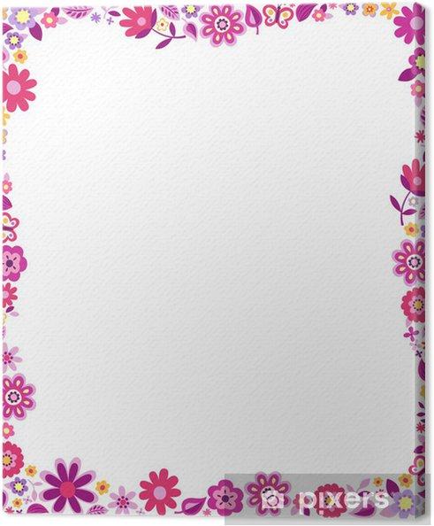 Tableau sur toile Cadre de frontière de motif floral - Fleurs