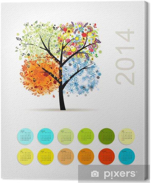 Tableau sur toile Calendrier 2014, avec quatre arbres de la saison pour votre conception - Saisons