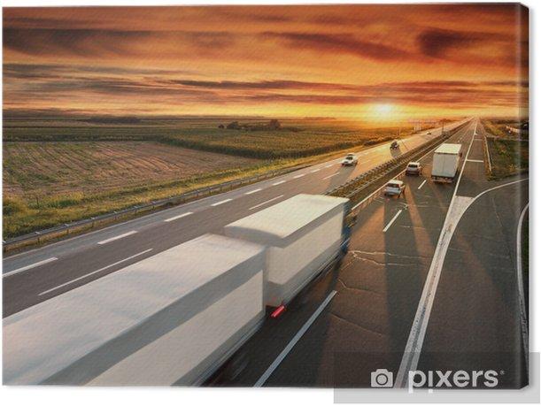 Tableau sur toile Camion dans le flou de mouvement sur l'autoroute - Sur la route